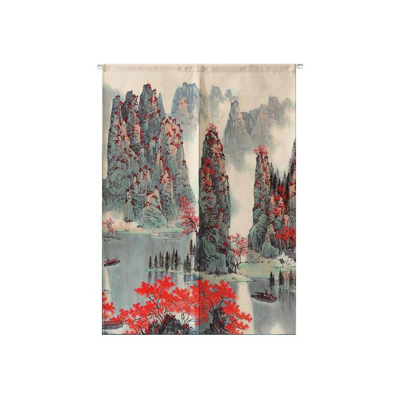 La cortina de tela de algodón de la pintura de paisaje semi - sombra la partición de decoración de dormitorios baño cortina cortina cortina de personalización de la entrada de viento