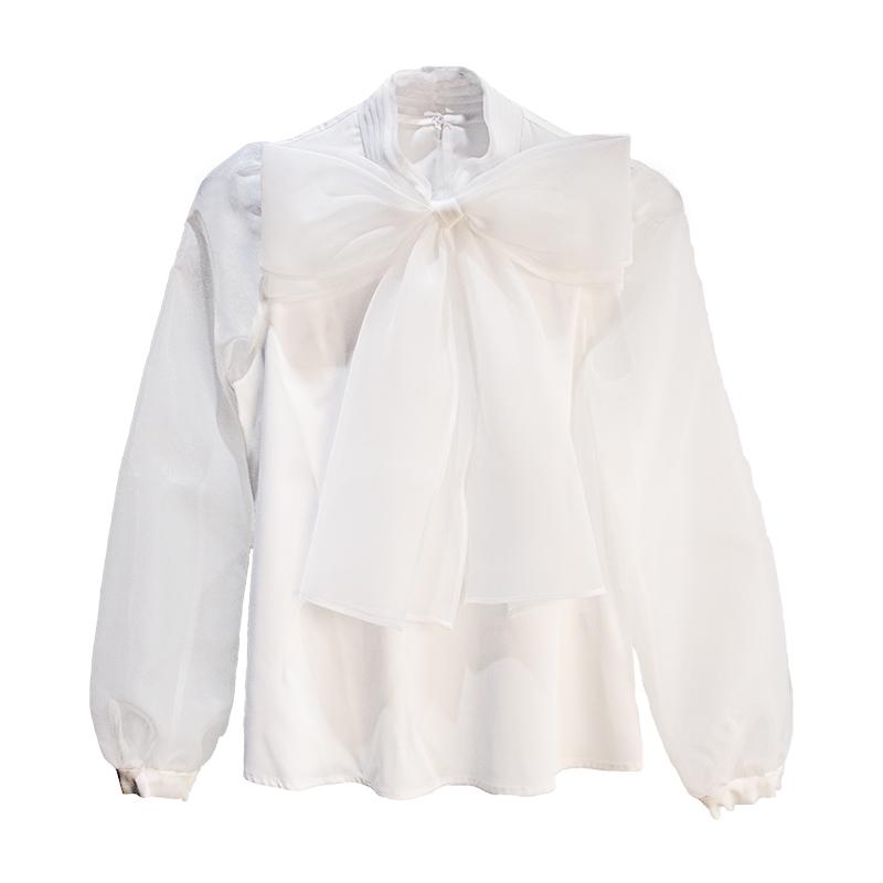 - fani - po syksyllä pitkähihainen paita organza iso rusetti valkoinen paita 2017 uusi han van naisten opiskelijoiden luonne