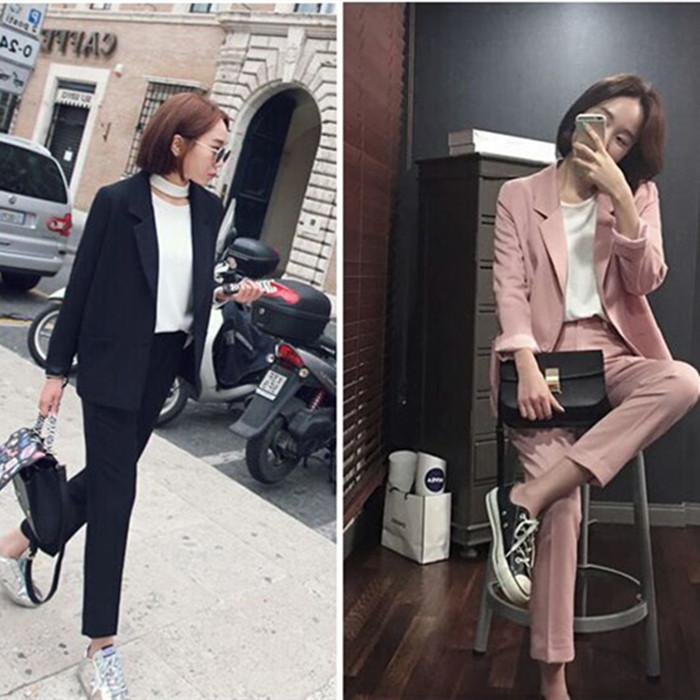 简约时尚西服套装女韩国显瘦长袖一粒扣小西装外套九分裤两件套潮