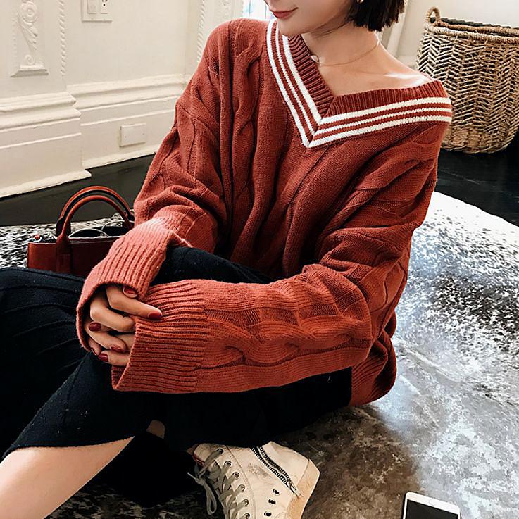 BIGKING Harajuku female head home Daikin sweater loose sweater cute female student sweet lazy college wind
