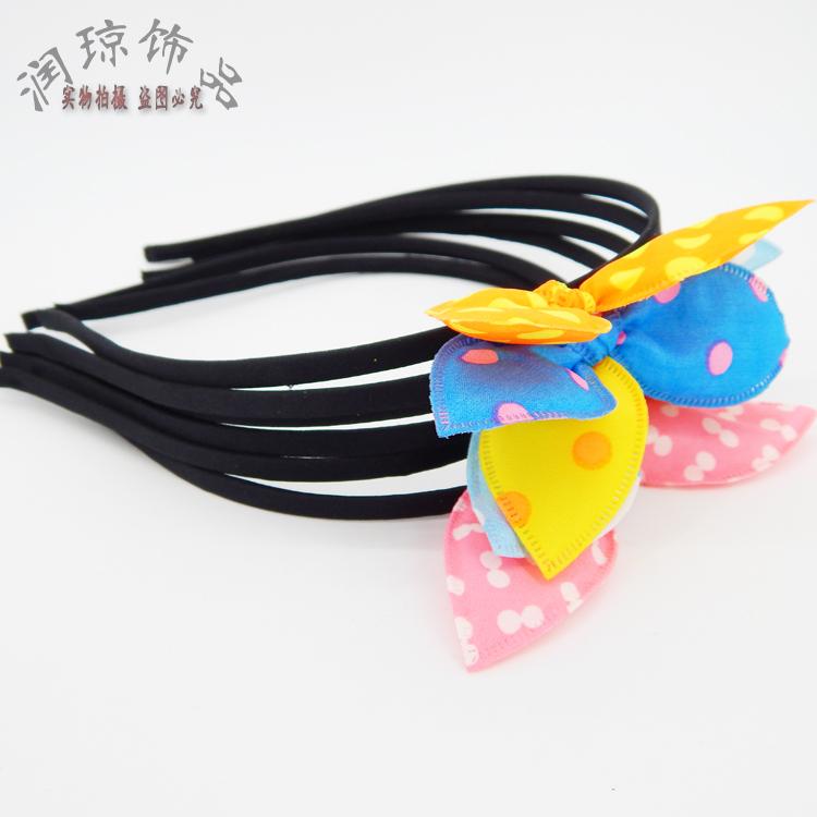 韓版のティアラ可愛い波点布製うさ耳カチューシャシンプルリボン児童カチューシャ淘宝小さな贈り物