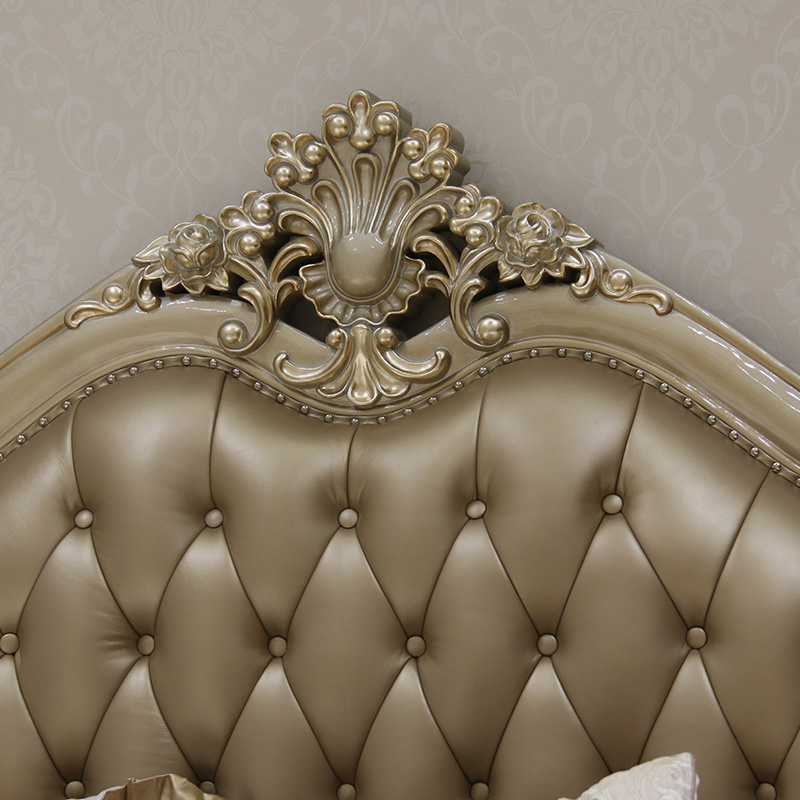 European style leather double bed, solid wood carved villa, bedroom, high-grade wedding bed, American buckle, soft princess bed