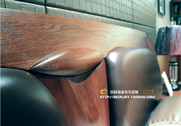 Guangzhou Yufeng furniture elm wood carved young imported cowhide on soft wood double bed Y180
