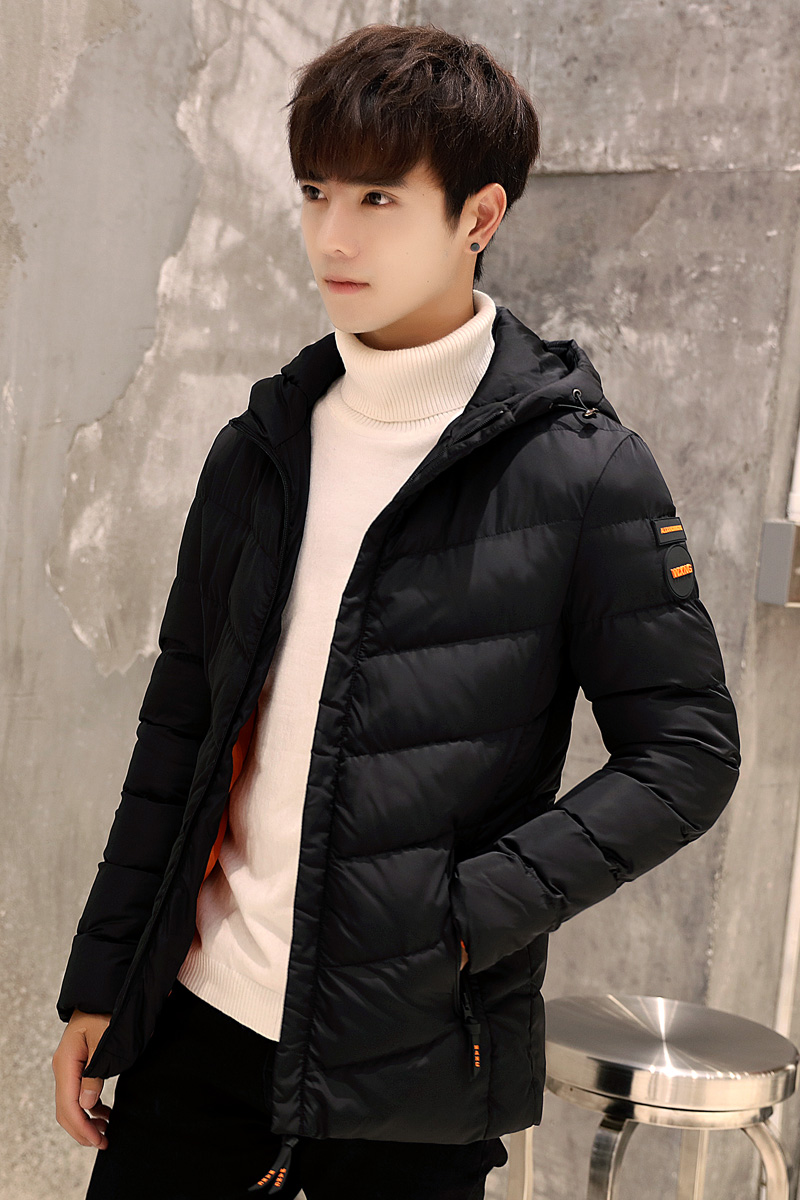 Men's winter hooded cotton thickened Korean short paragraph padded coat jacket youth male clothing trend of male bread