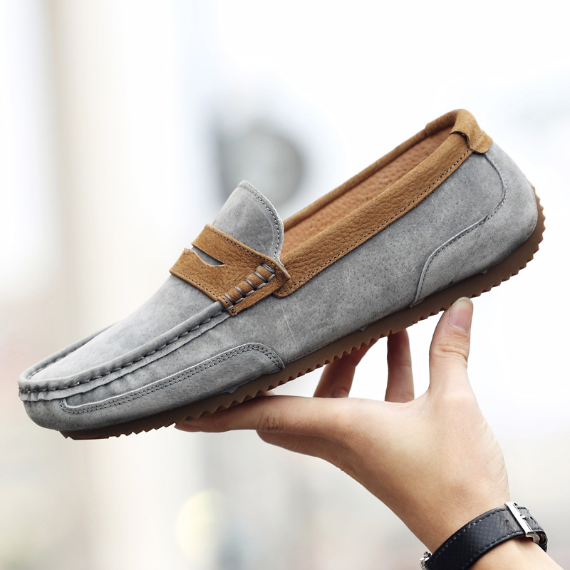 The fall of men's shoes leather casual young male scrub Doug British lazy shoes all-match loafer suede shoes