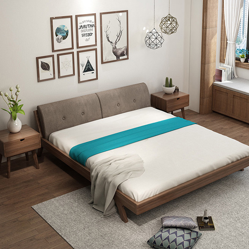 Nordic wood bed simple modern double Zhuwo 1.8 meters 1.5m Japanese oak bed soft on bedroom furniture