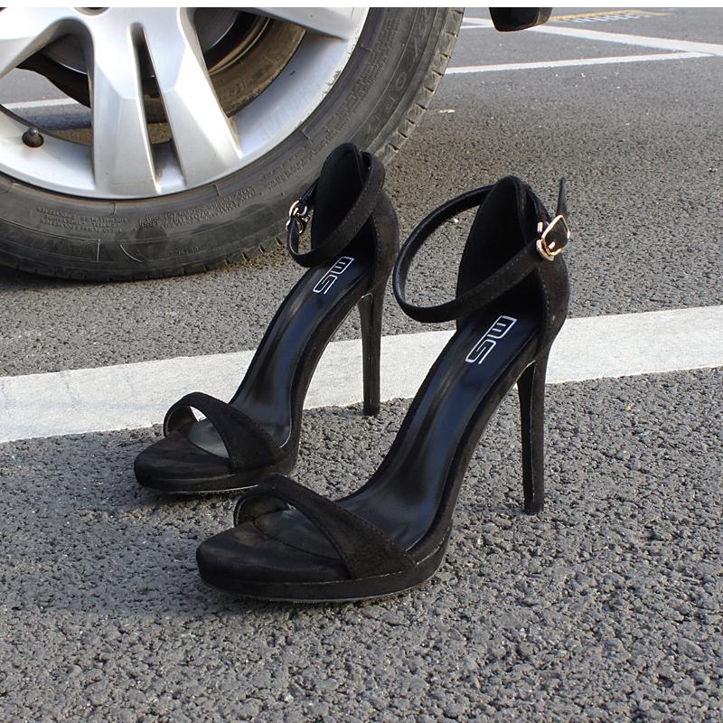 2017新款夏季性感一字扣女凉鞋超高跟简约显瘦露趾大码纯色凉鞋女