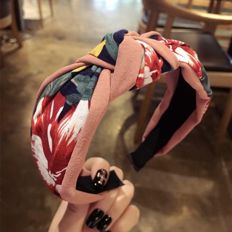 ใหม่กิ๊บดอกไม้ผูกวงเกาหลีผู้หญิงใบหน้าหญิงหวานสีผสมผ้าผ้าคาดผมโบว์