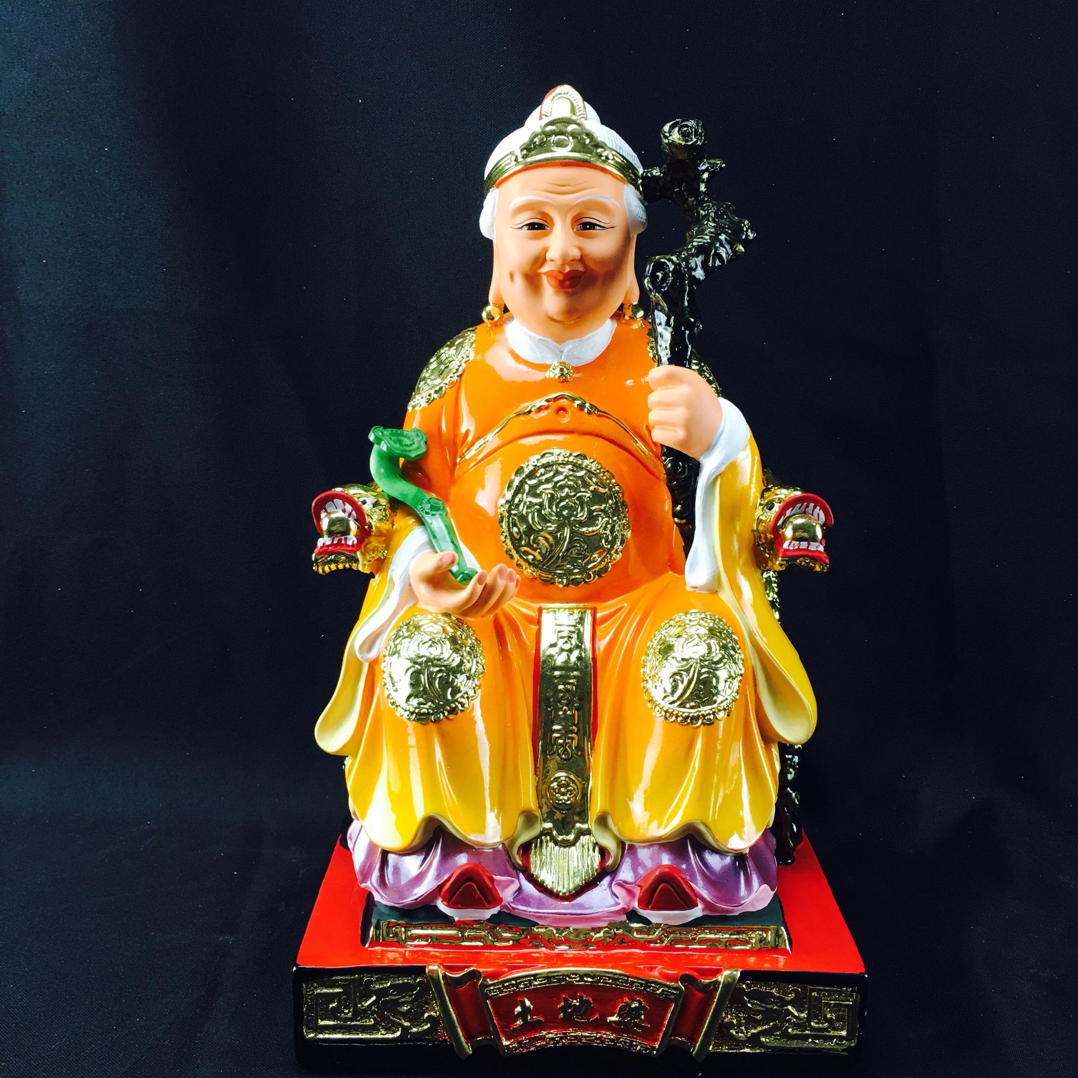 12寸樹脂拿拐杖土地婆土地廟佛像神像擺件工藝品鎮宅風水化煞保平安