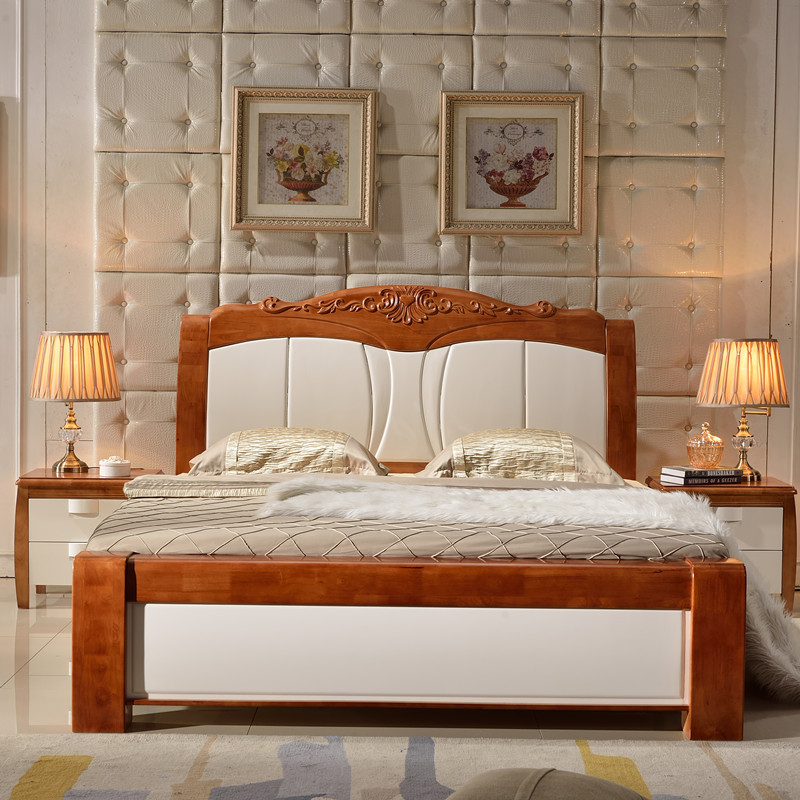 Simple Mediterranean oak bed 1.8 meters double bed hard bed solid wood bed high box bed pneumatic storage bed
