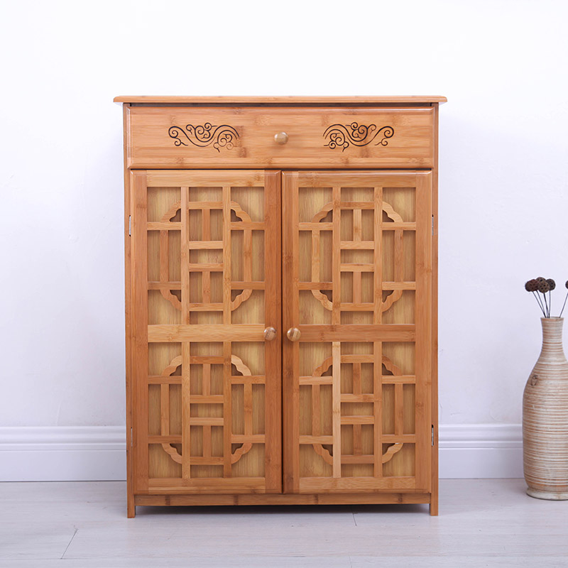 Bamboo retro shoe living room cabinets solid wood furniture entrance hall multifunctional cabinet cabinet