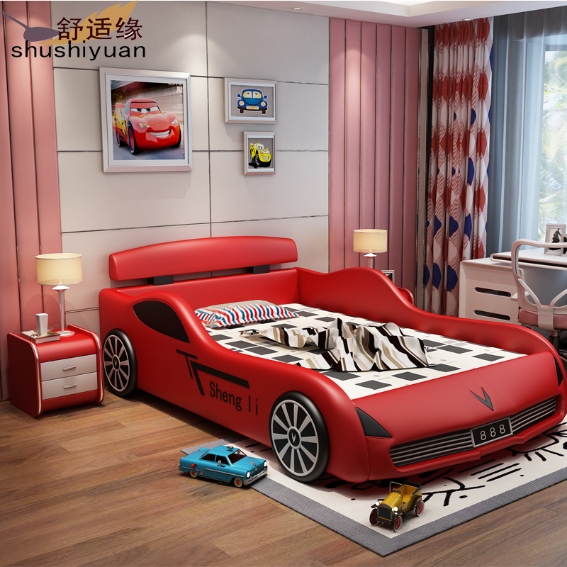 Children's leather bed boy with storage car bed, teen 1.5 meter cartoon leather bed baby racing bed spot