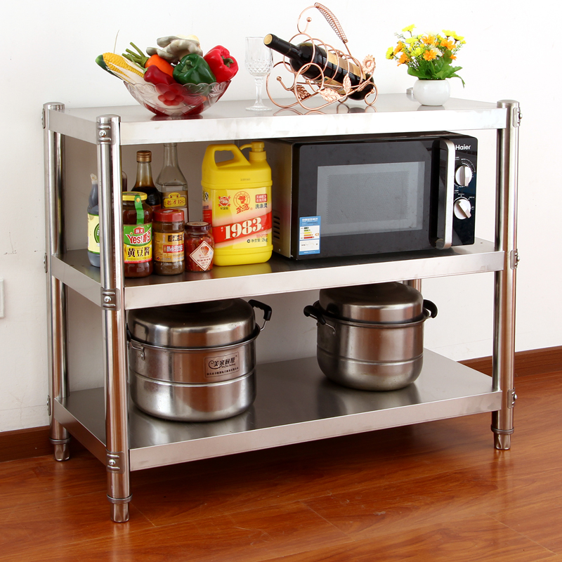 Microwave oven thick stainless steel kitchen shelf 3 layer storage rack oven shelf vegetable rack custom landing