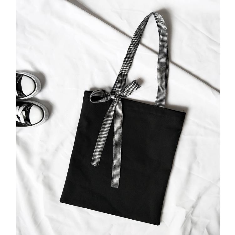 赫本風 黑 chic bag 蝴蝶結 女包 單肩包 布袋 帆布包