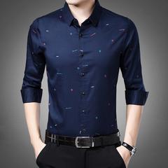 衬衫男长袖韩版修身印花衬衣2019秋装上衣青年男士寸衫潮
