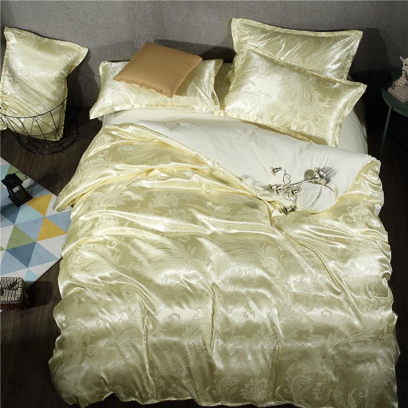 Di SETA e Raso di SETA di Colore tencel una serie di Quattro Pezzi di 1.8m/1.5 metri muniti di doppio lenzuolo su lenzuola