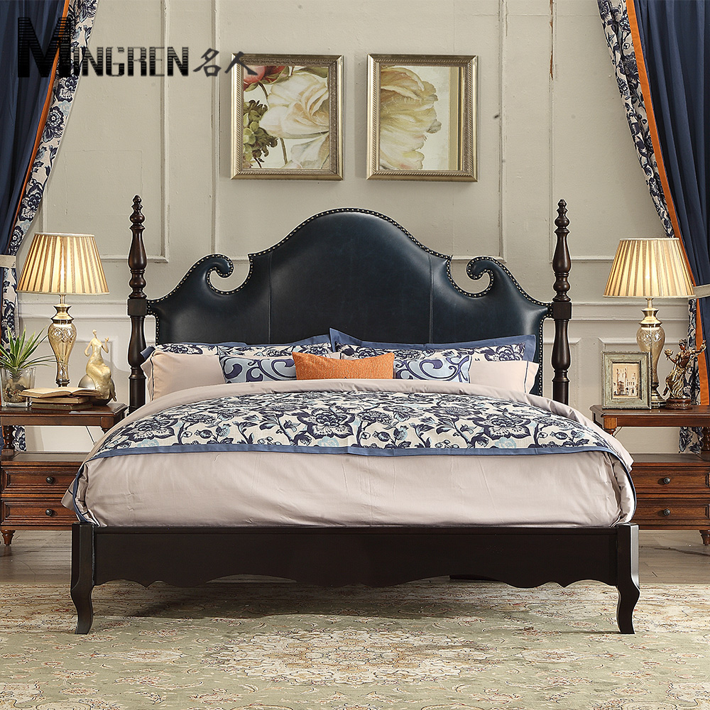 Celebrity furniture, American style solid wood bed, soft bedroom, 1.8 meter double bed, leather art, old big house