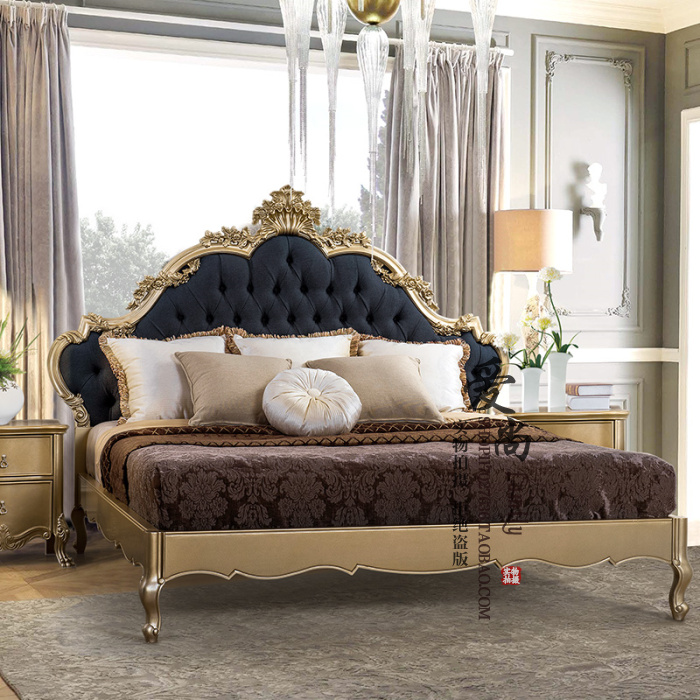 French new classical all solid wood carving solid wood bed, European antique, old double bed 1.51.8 solid wood soft bed