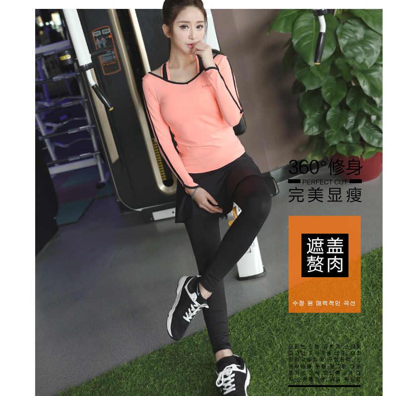 Korean Yoga suit female autumn winter thin long sleeved gym fake two sports clothes three sets of night running