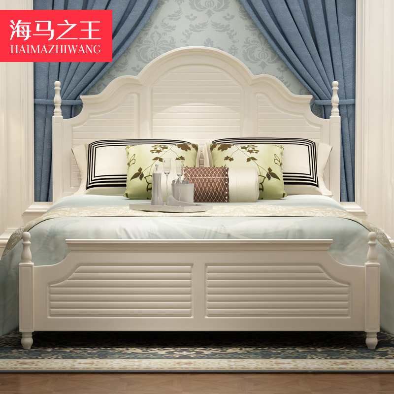 American country modern simple fashion European style 1.8 meters solid wood bed master bedroom double Princess Garden high box bed
