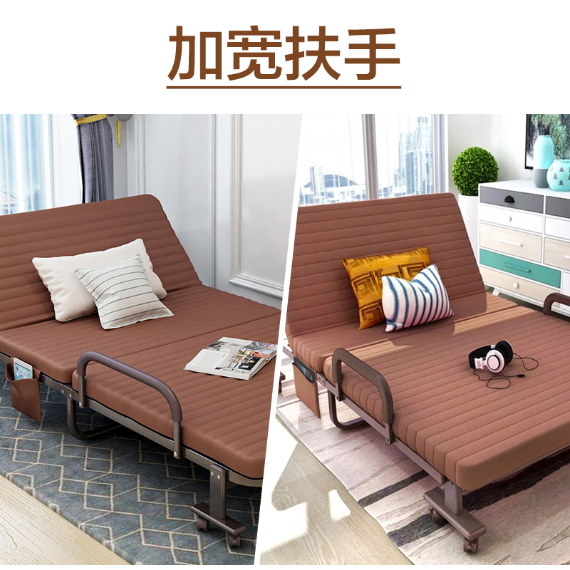 Domestic folding folding bed, 1.5 meters double temporary single bed, solid wood rental room, simple bed, student economy type