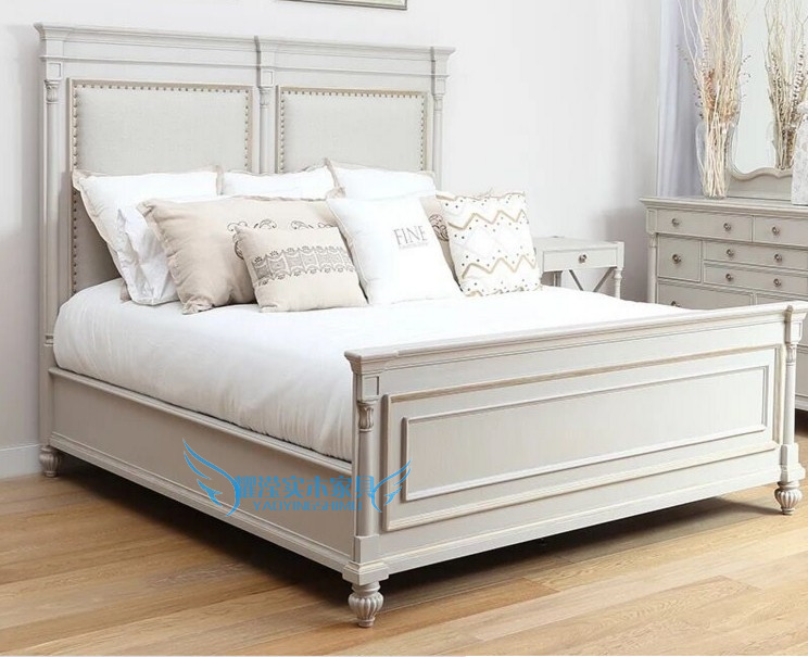American country solid wood carving double bed bedroom, retro do old 1.5 meters 1.8 meters oak beds, custom wedding bed