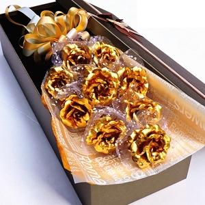 金玫瑰花24k金箔玫瑰花结婚纪念日礼物送老婆爱人创意实用生日女