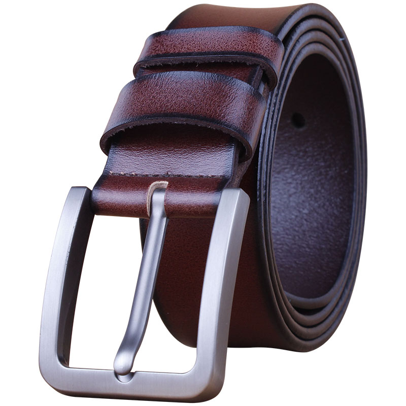 京東のショッピングセンターの唯品が紳士ベルト二枚の牛皮アイレット真皮日字釦釦まぶた帯ベルト