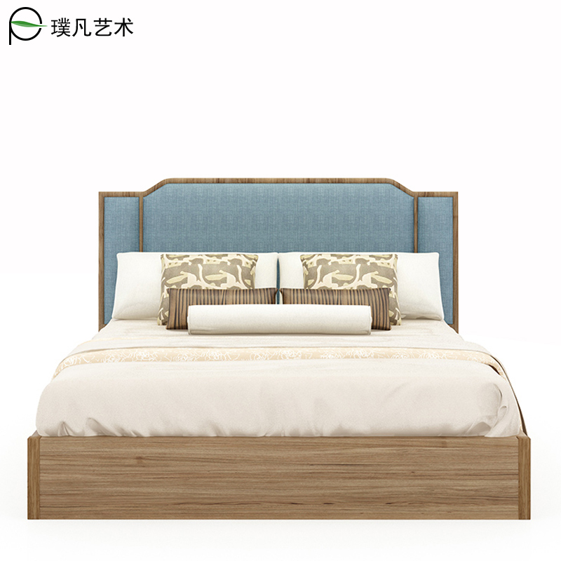 The new Chinese style furniture in modern minimalist Zen Hotel bed double bed hostel villa custom engineering master
