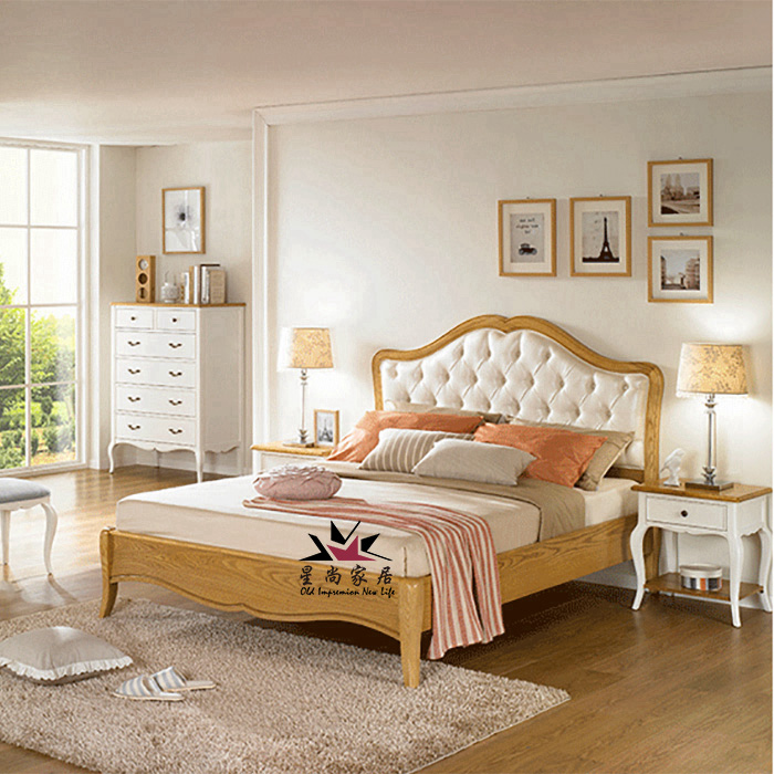 American country oak bed simple willow wood bedroom furniture bed 1.5 meters 1.8 meters double soft bed