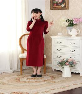 【华之韵】秋冬新品七分袖长款全棉植绒旗袍8005
