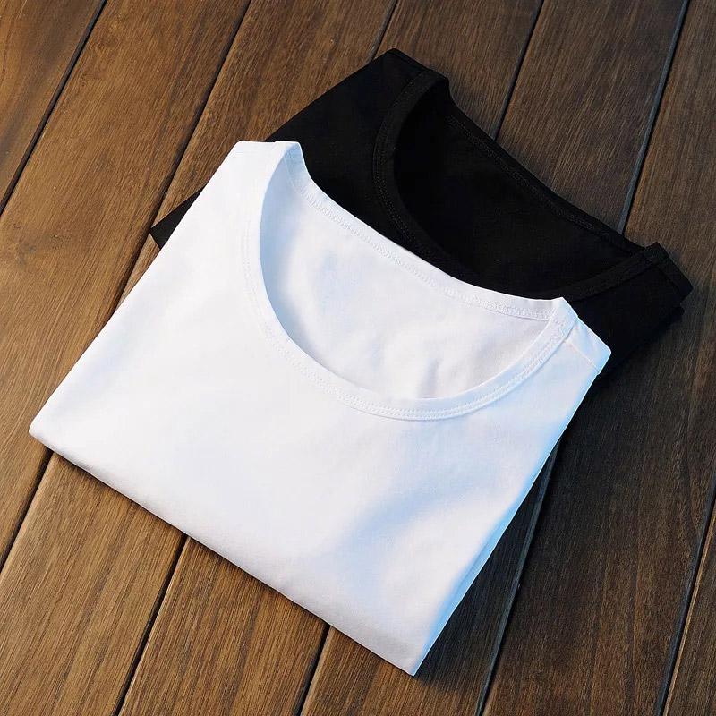 天天特价]纯白色商务宽松棉打底衫圆领男士t恤长袖上衣服体恤衫男