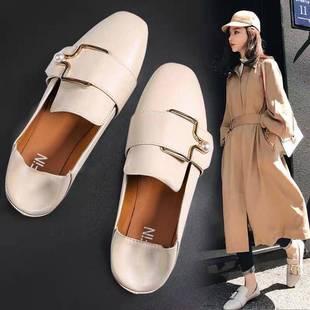 99夏单鞋女平底鞋秋季新款韩版一脚蹬奶奶豆豆鞋网红chic小皮鞋潮