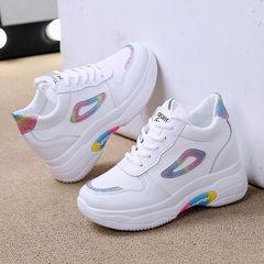 新款内增高女鞋增高2021春季运动小白鞋厚底百搭时尚旅游鞋休闲鞋