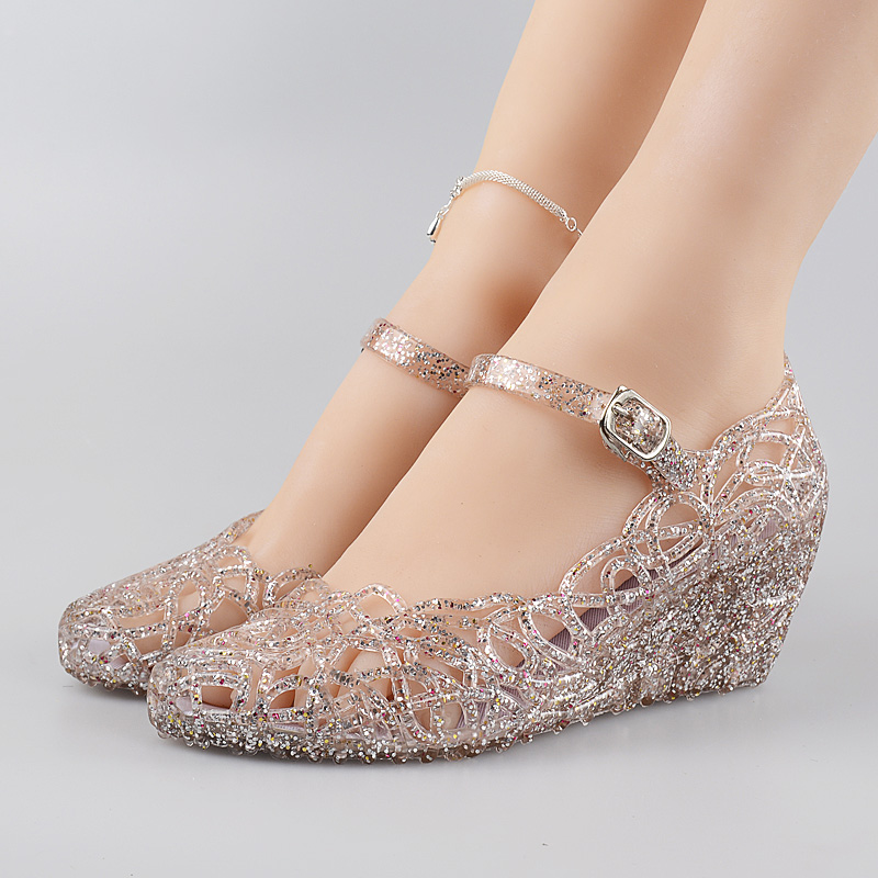 夏季水晶果凍網狀沙灘鳥巢鏤空甜美洞洞高跟坡跟媽媽鞋塑料女涼鞋