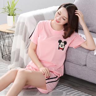 2020新款短袖睡衣女夏棉质韩版休闲女士夏季家居服套装