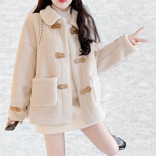 秋冬2020年新款百搭韩版宽松短款小个子羊羔毛外套女羊羔绒小香风