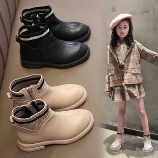 新款女童秋冬季靴子加绒棉鞋马丁靴