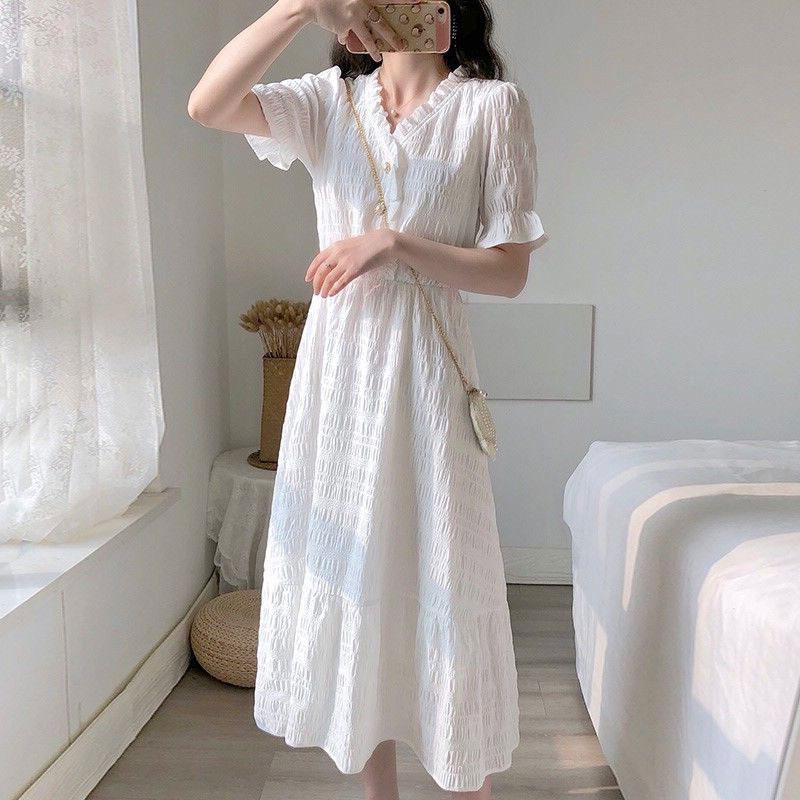 2020夏季新款小香风白色连衣裙桔梗法式复古显瘦气质仙女流行裙子