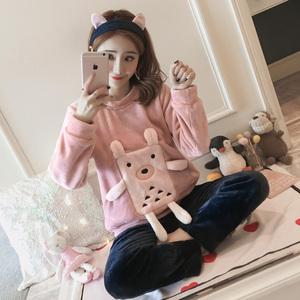 2018新品冬季加厚加绒保暖法兰绒珊瑚绒睡衣女韩版甜美可爱家居服