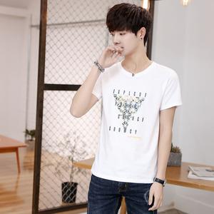【2件39】夏季男士短袖t恤圆领上衣服潮流夏天男装学生半袖体恤衫