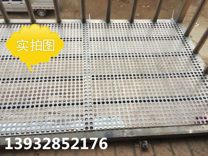 Placa de acero inoxidable con agujeros de ventilación terraza balcón una flor de la red de protección a la red de canal cubrir una malla.