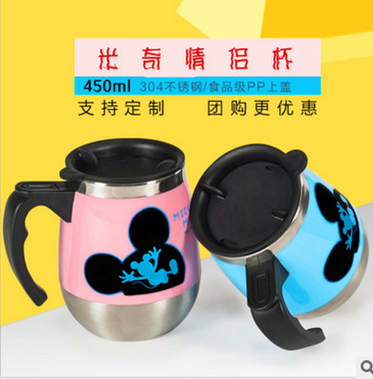 Stainless steel cartoon thermos cup, men's high-grade stainless steel cup, portable vacuum business custom carved tea cup