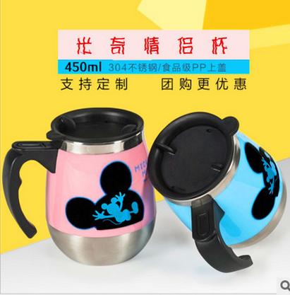 ステンレスのカトゥーンカップ男性用女性高級ステンレス鋼の湯飲み、真空ビジネスのカスタム刻字マグカップ