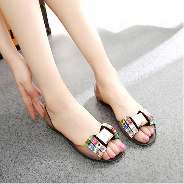 夏季果冻鞋女凉鞋防滑水晶鞋平底水钻蝴蝶结沙滩鞋女鞋透明塑料鞋