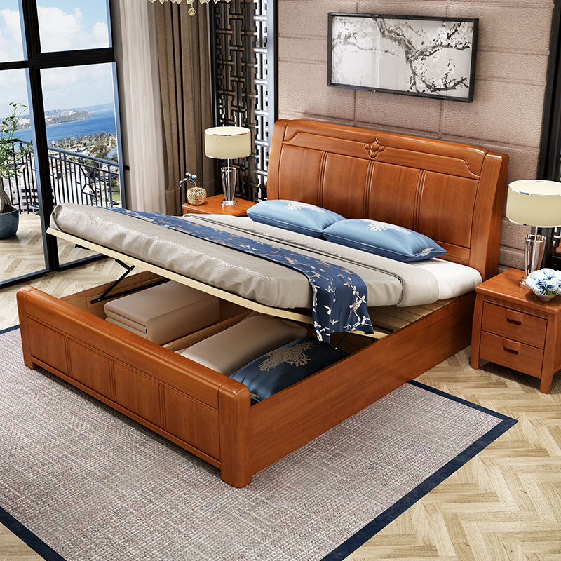 Modern new Chinese style 2*2.2 meters solid wood bed, 1.8 meters double bed, master bedroom, 1.5 high box storage bed, economical type