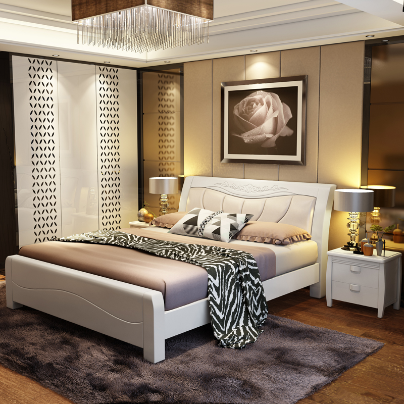 Beds, all solid wood beds, oak beds, simple double beds, high box storage beds, 1.8/1.5 meters, Chinese solid wood beds, white