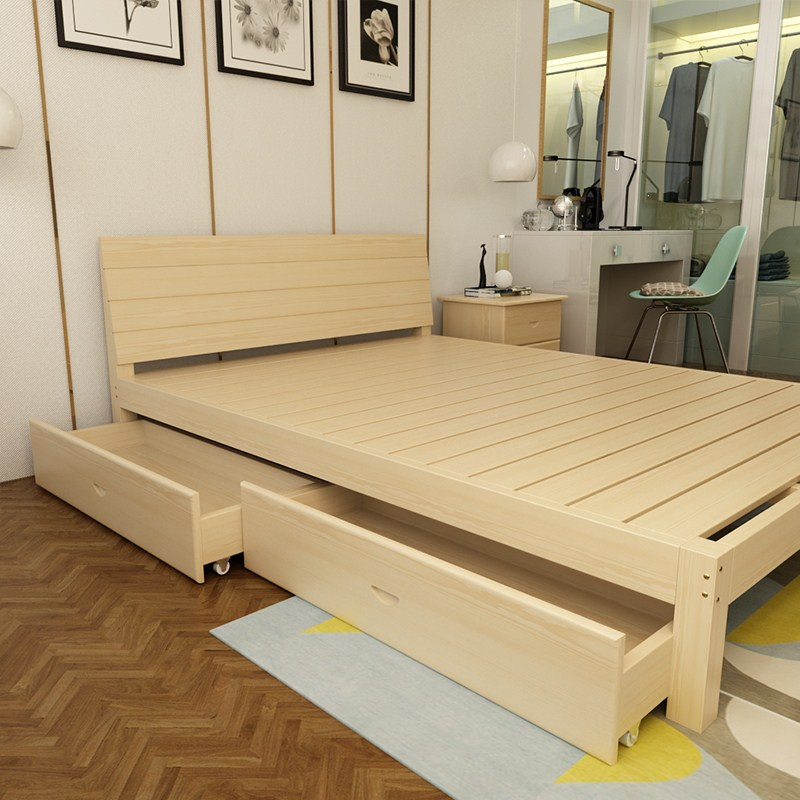 All solid wood bed 1.5 double bed 1.8 adult single bed 1 meters 2 simple modern pine children bed bag mail