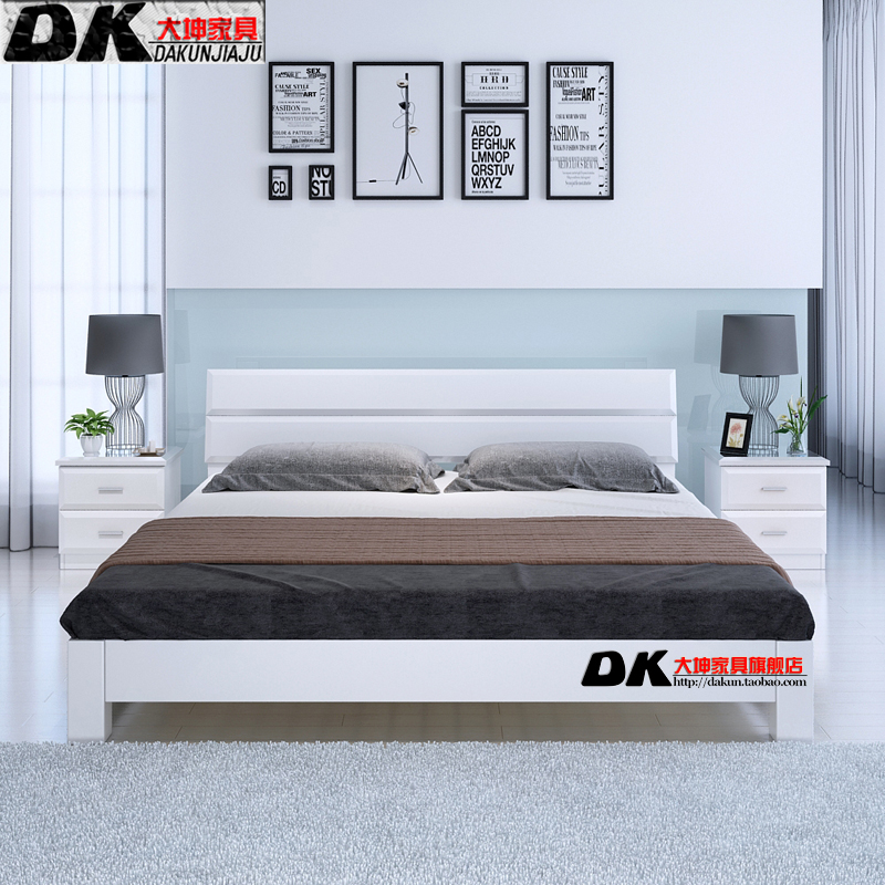 Shipping wood tatami bed double bedstead 1.5 meters without simple bedside white 1.8 Nordic style