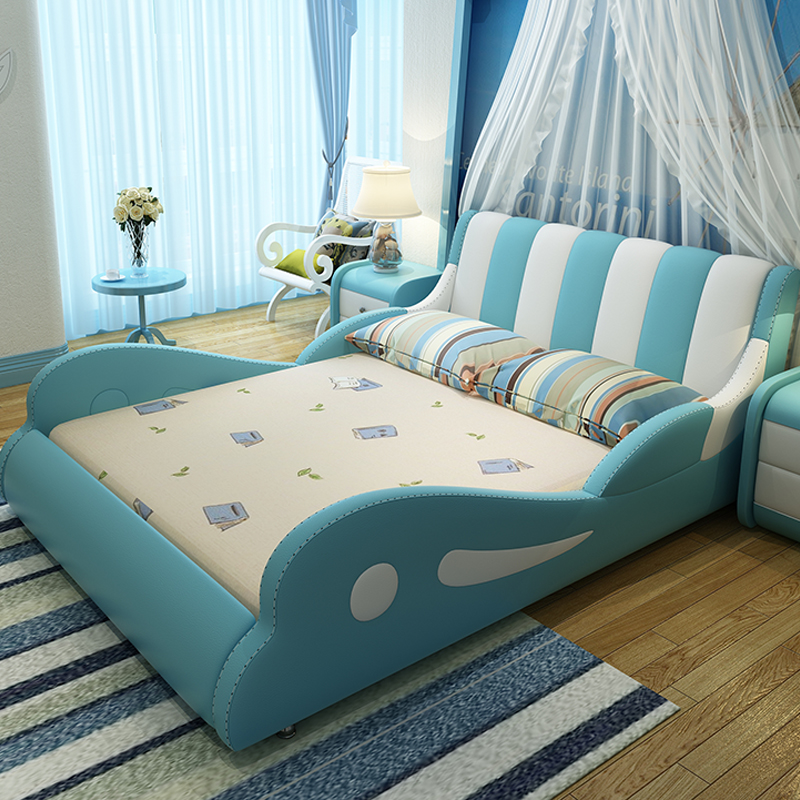 Children bed girl Princess leather bed 1.2 m boy 1.5 combination storage belt guardrail single cartoon double solid wood bed